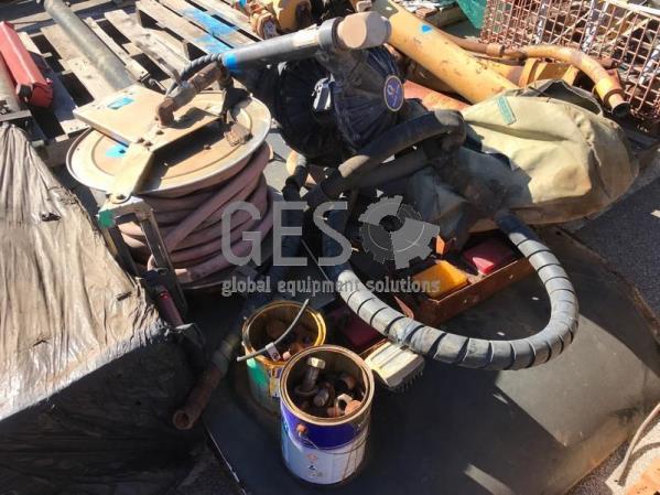 UNRESERVED Pallet of Parts Including Pump, Hose Reel, Ladder