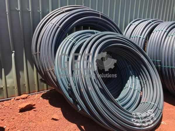 Damos Poly Pipe 50 mm PN16 SDR11 Blue Stripe x 4 Rolls