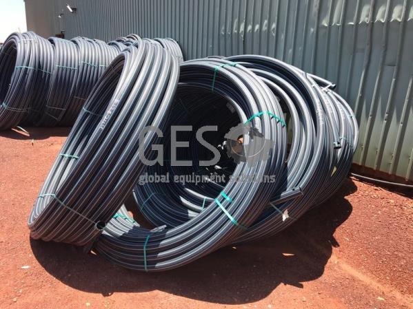 Damos Poly Pipe 63 mm PN12.5 SDR13.6 Blue Stripe x 7 Rolls