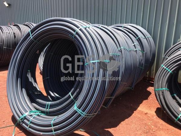 Damos Poly Pipe 63 mm PN12.5 SDR13.6 Blue Stripe x 9 Rolls
