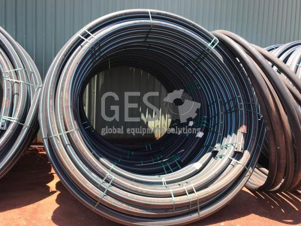 Damos Poly Pipe 110 mm PN12.5 SDR13.6 Blue Stripe x 6 Rolls