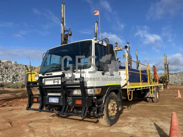 2001 Hino FG1J Drill Support Truck with 1.2 KL Diesel 6.2 KL Water, Rod Carrier & Maxilift Crane
